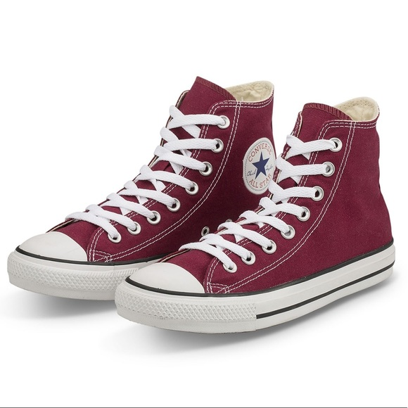 e68ecef10d1d Converse Shoes - Women s size 9 Maroon Chucks High Top Converse